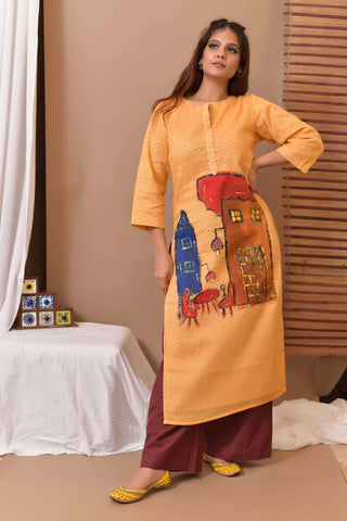 Yellow Hand Painted Cotton Kurta