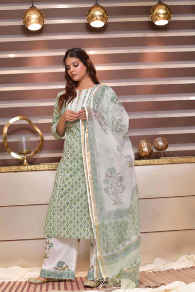 Green White Kota Cotton Dupatta