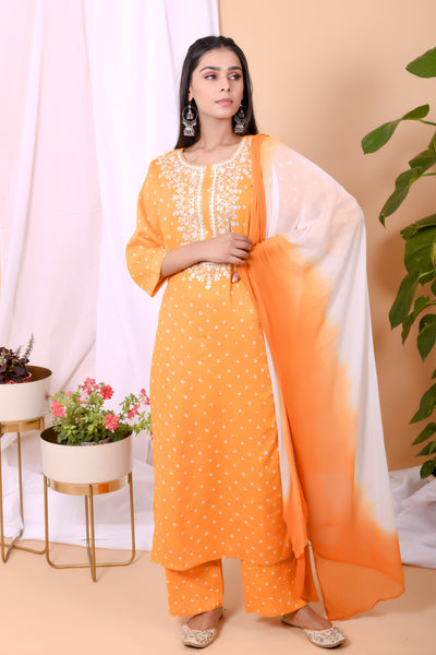 Yellow White Bandhani Cotton Embroidered Suit-Set of 3