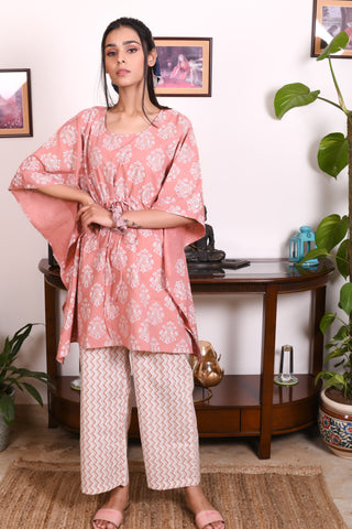 White Peach Hand Block Printed Cotton Kaftan- Set of 2