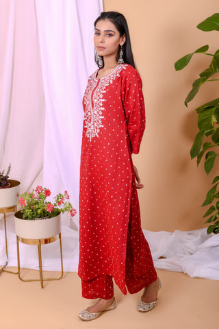 Red White Bandhani Cotton Palazo