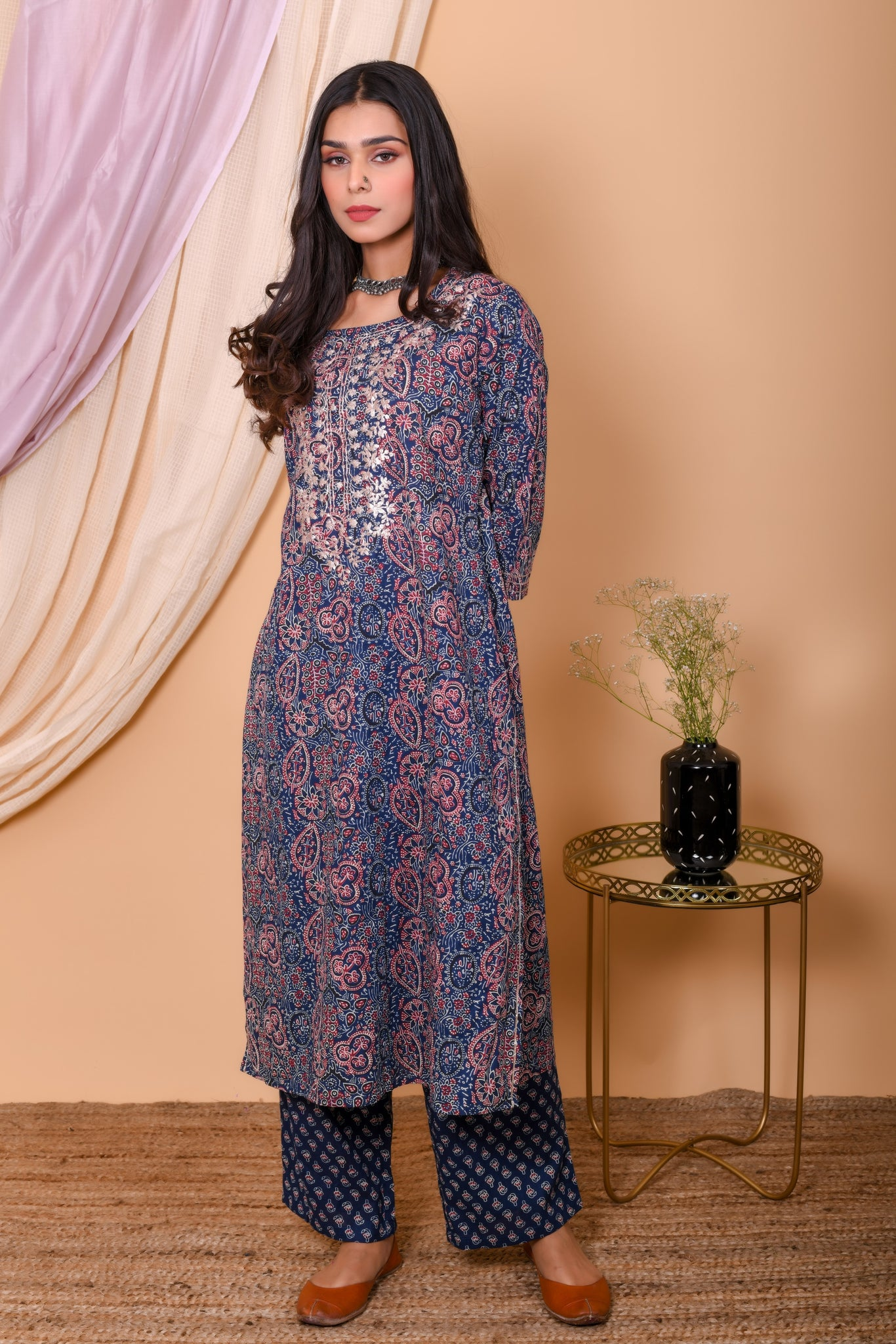 Blue Ajrak Cotton Embroidered Kurta