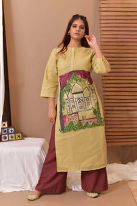 Green Hand Painted Cotton Kurta