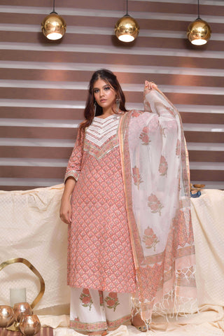 Peach Hand Block Printed Cotton Suit-Set of 3