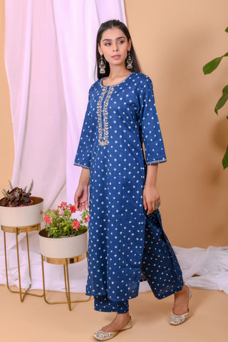 Blue White Bandhani Cotton Palazo