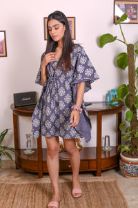 Grey Hand Block Printed Cotton Kaftan