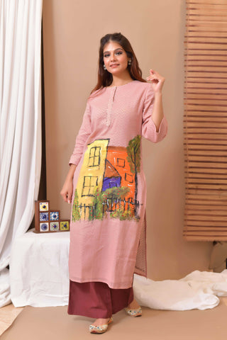 Pink Hand Painted Kurta & Palazo - Set of 2