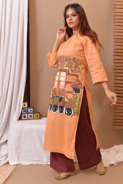 Orange Hand Painted Kurta & Palazo - Set of 2