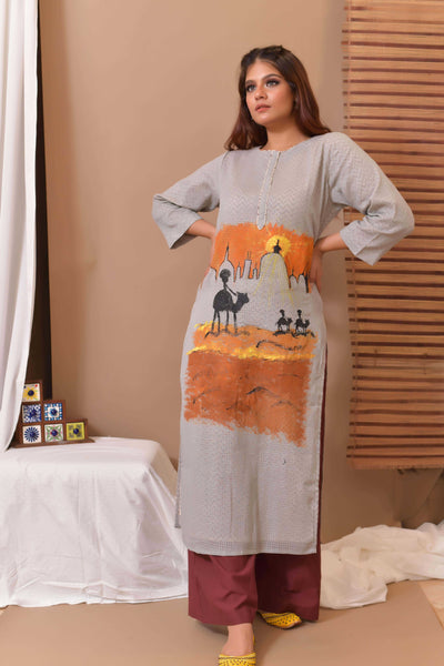 Grey Hand Painted Cotton Kurta