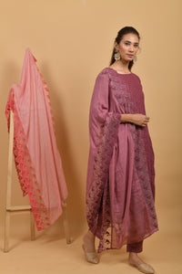 Mauve Cotton Silk Dupatta