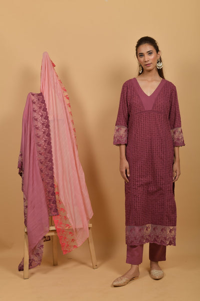 Mauve Cutwork Cotton Suit - Set of 3