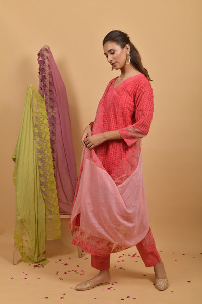 Peach Pink Cutwork Cotton Suit - Set of 3