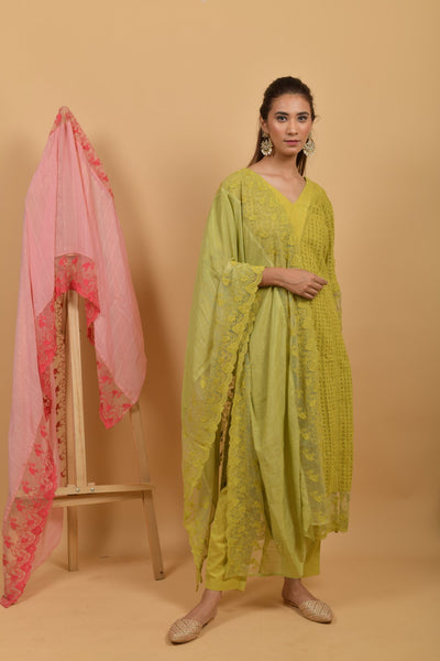 Yellow Green Cotton Silk Dupatta