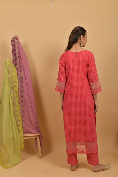 Peaches Pink Cutwork Cotton Kurta