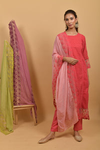 Pink Peach Cotton Silk Dupatta