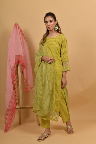 Yellow Green Cutwork Cotton Suit - Set of 3