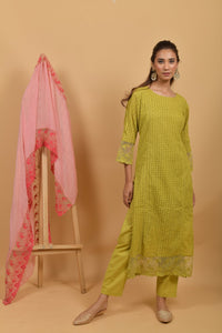 Yellow Green Cutwork Cotton Kurta
