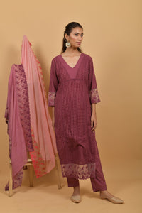 Mauve Cutwork Cotton Kurta