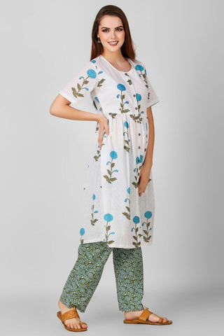 White Blue Hand Block Printed Suit - Set of 2 - label shreya gupta