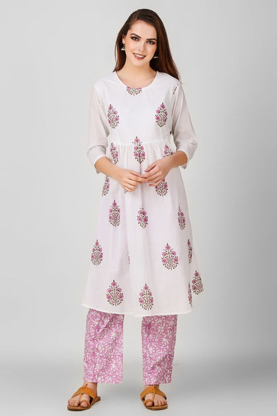 White Pink Hand Block Printed Suit - Set of 2 - label shreya gupta