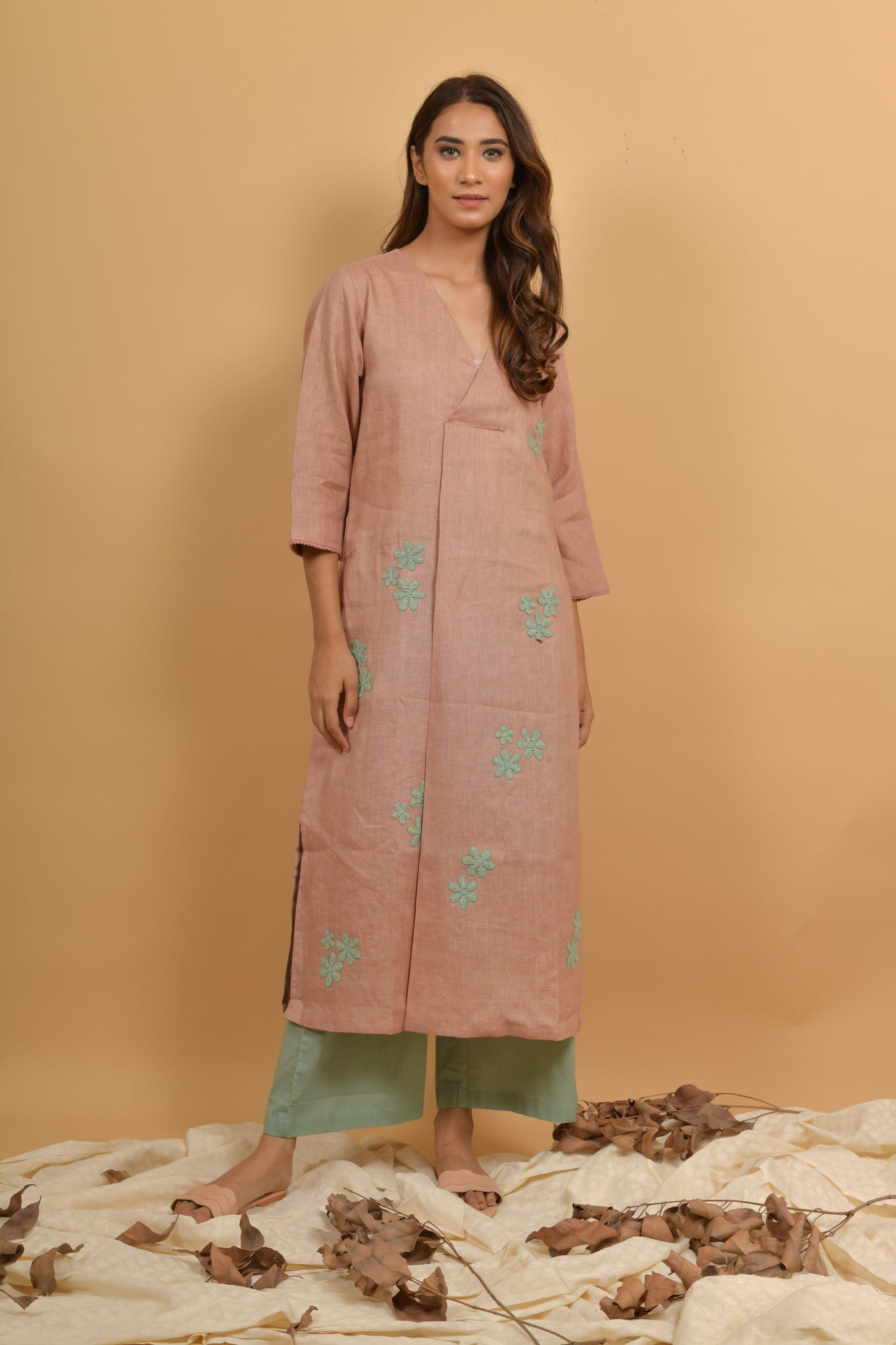 Rose Mint Linen Kurta & Palazo - Set of 2