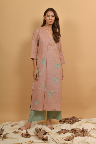 Rose Mint Linen Kurta