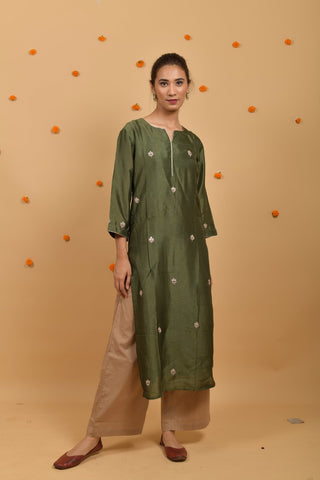 Green Habutai Silk Hand Embroidered Kurta