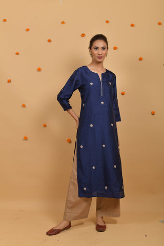 Blue Habutai Silk Hand Embroidered Kurta