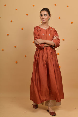 Rust Habutai Silk Hand Embroidered Anarkali Kurta