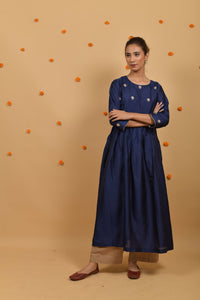 Blue Habutai Silk Hand Embroidered Anarkali Kurta