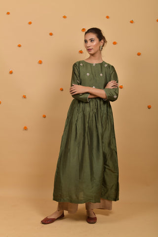 Green Habutai Silk Hand Embroidered Anarkali Kurta