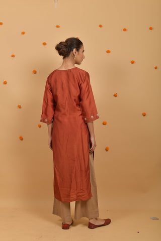 Rust Habutai Silk Hand Embroidered Kurta
