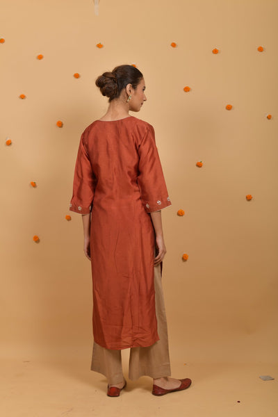 Rust Beige Habutai Silk Hand Embroidered Suit - Set of 3