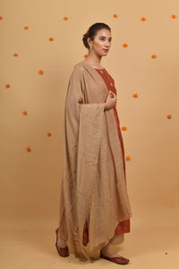 Beige Hand Embroidered Cotton Silk Dupatta