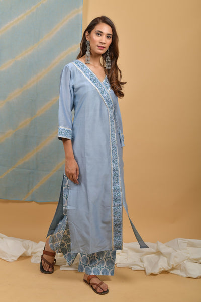Powder Blue Chanderi-Silk Angrakha Kurta