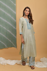 Mint - Powder Blue Chanderi-Silk Angrakha Kurta