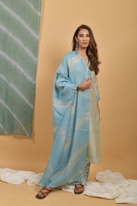 Mint Powder Blue Leheriya Linen Dupatta