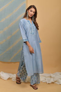 Copy of Powder Blue Chanderi-Silk Kurta