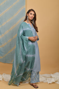 Powder Blue Chanderi-Silk Kurta & Leheriya Linen Dupatta Suit - Set of 3