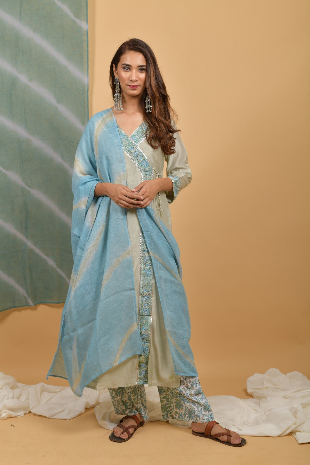 Mint - Powder Blue Chanderi-Silk Kurta & Leheriya Linen Dupatta Suit - Set of 3