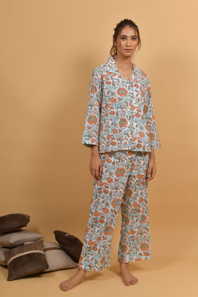 Floral Hand Block Printed Cotton Night wear- Set of 2