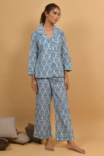 Blue WHite Hand Block Printed Cotton Night wear- Set of 2