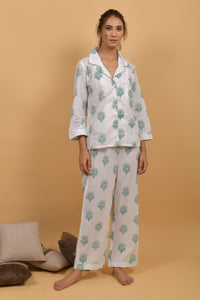 Mint White Hand Block Printed Cotton Night wear- Set of 2