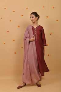 Dark Red - Rose Pink Silk Suit-Set of 3