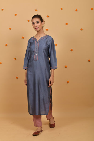 Grey - Rose Pink Silk Kurta