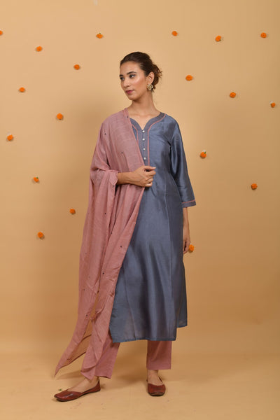 Grey Rose Cotton Silk Dupatta