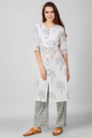 White Grey Hand Block Printed Suit - Set of 2 - label shreya gupta
