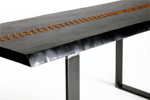 Industrial Furniture, Dining Table, Rustic Home Decor, Farmhouse Table, Gold Stitched Table