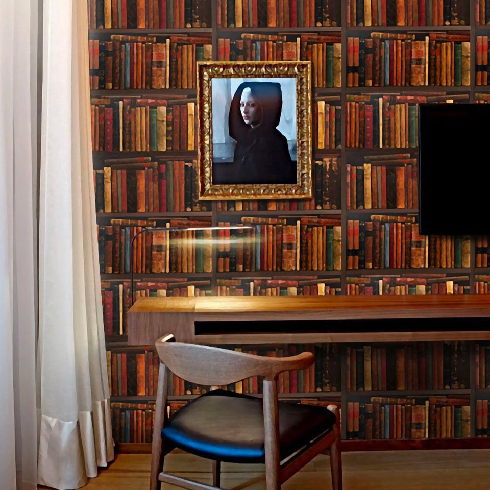 Antique Bookshelf Wallpaper