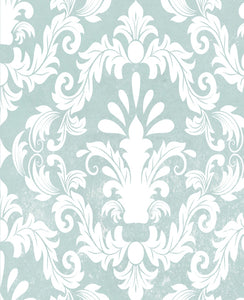 Light Blue Vintage Damask Wallpaper - WallpapersforBeginners